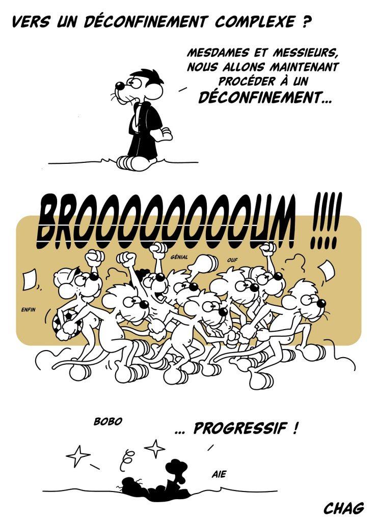 dessin d'humour de Chag sur l'épidémie de coronavirus et le déconfinement du 11 mai