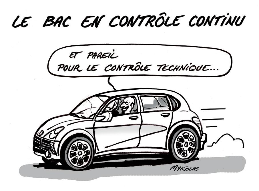 dessin d'actualité humoristique de Mykolas sur le passage du baccalauréat 2020 par contrôle continu et le contrôle technique automobile