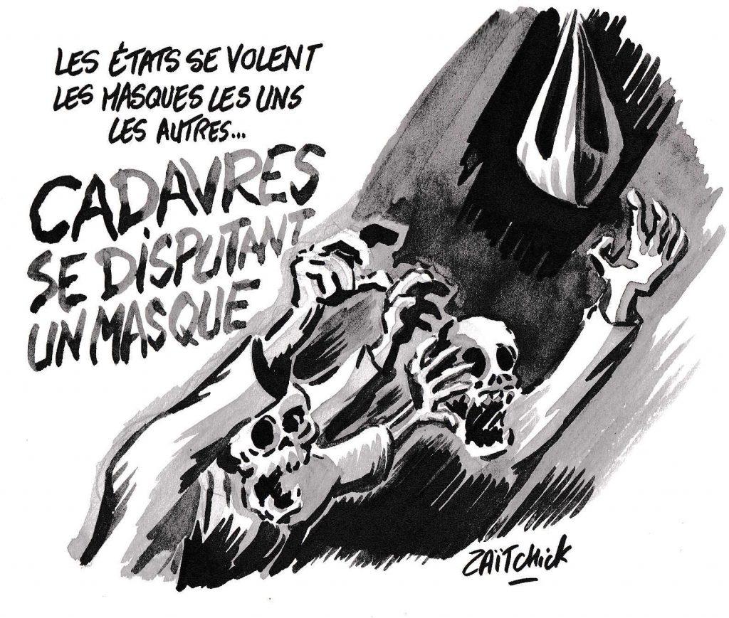 dessin de Zaïtchick sur l'épidémie de Covid-19 et le vol de masques entre États