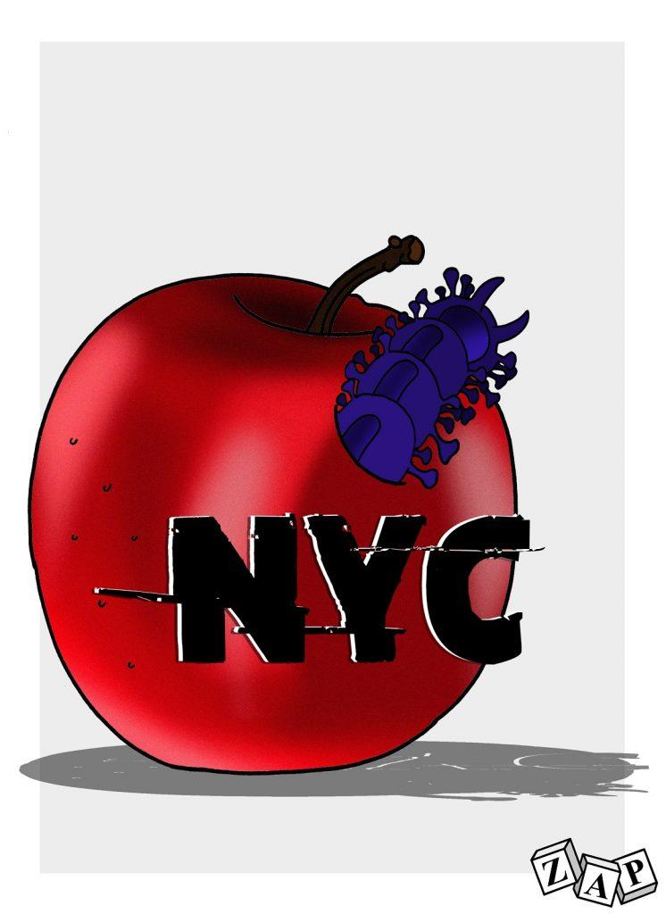 dessin d'actualité de Zap sur l'épidémie du Covid-19 à New York