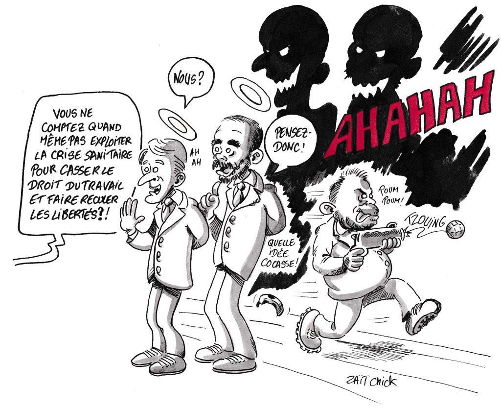 dessin de Zaïtchick sur l'épidémie de Covid-19 et l'exploitation du gouvernement pour casser le droit du travail et faire reculer les libertés
