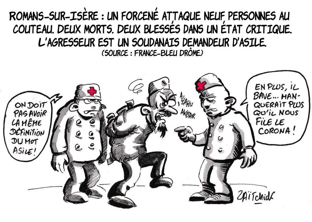 dessin de Zaïtchick sur l'attaque au couteau à Romans-sur-Isère par un soudanais demandeur d'asile qui a fait deux morts et 7 blessés