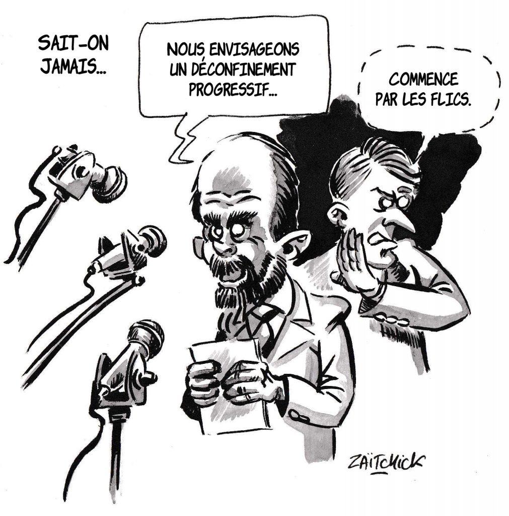 dessin de Zaïtchick sur l'épidémie de coronavirus et le déconfinement progressif annoncé par Édouard Philippe