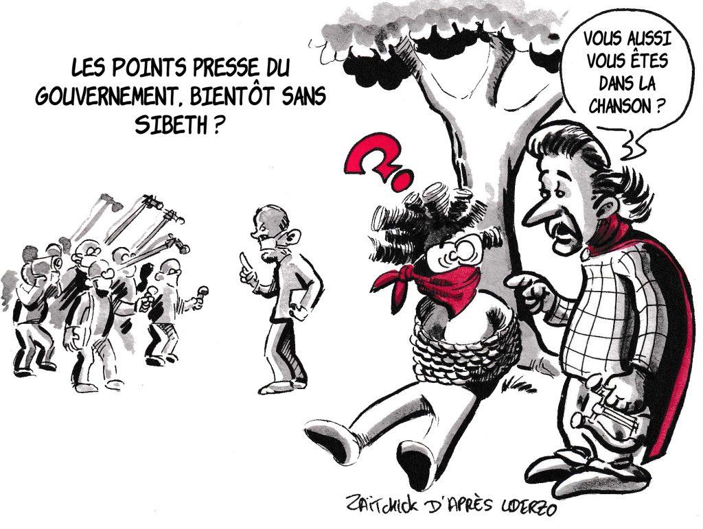 dessin de Zaïtchick sur l'épidémie de coronavirus et les points presse du gouvernement tenus par Sibeth Ndiaye