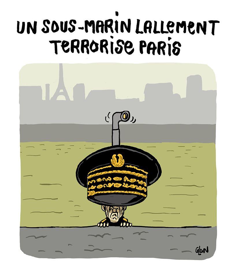 dessin humoristique de Glon sur les dérapages du préfet de police de Paris, Didier Lallement