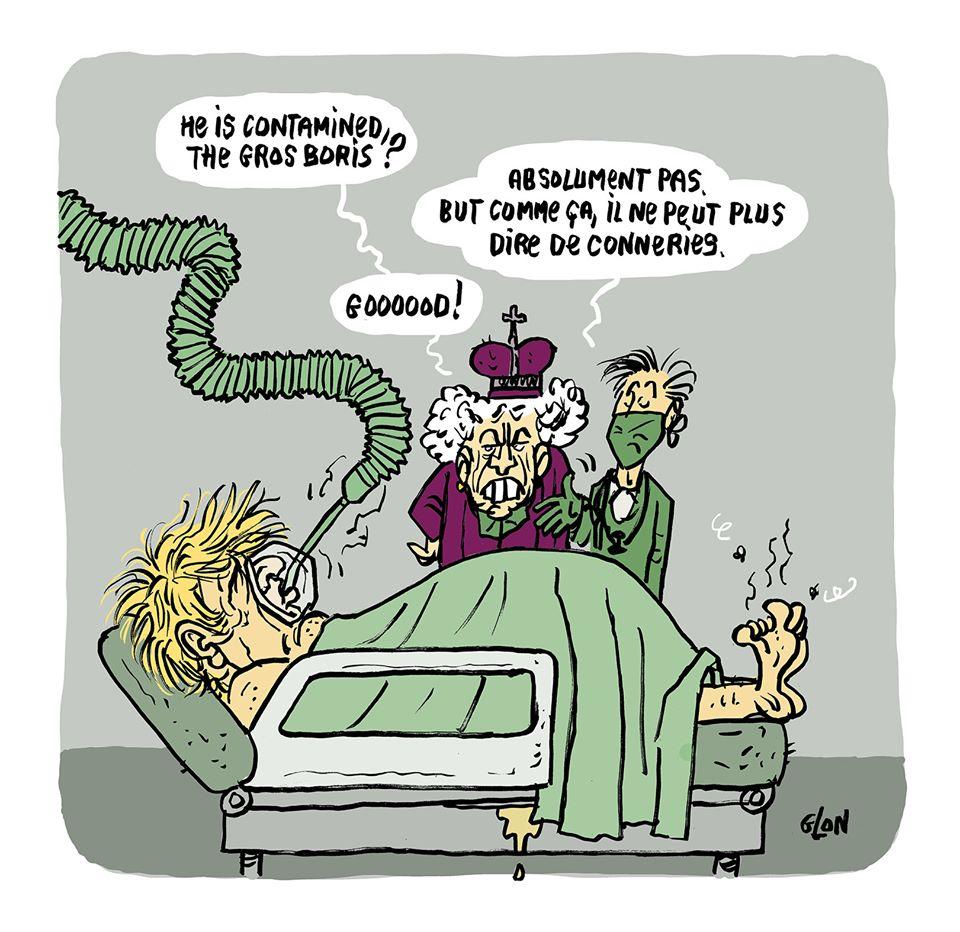 dessin humoristique de Glon sur l'épidémie de coronavirus et l'hospitalisation de Boris Johnson
