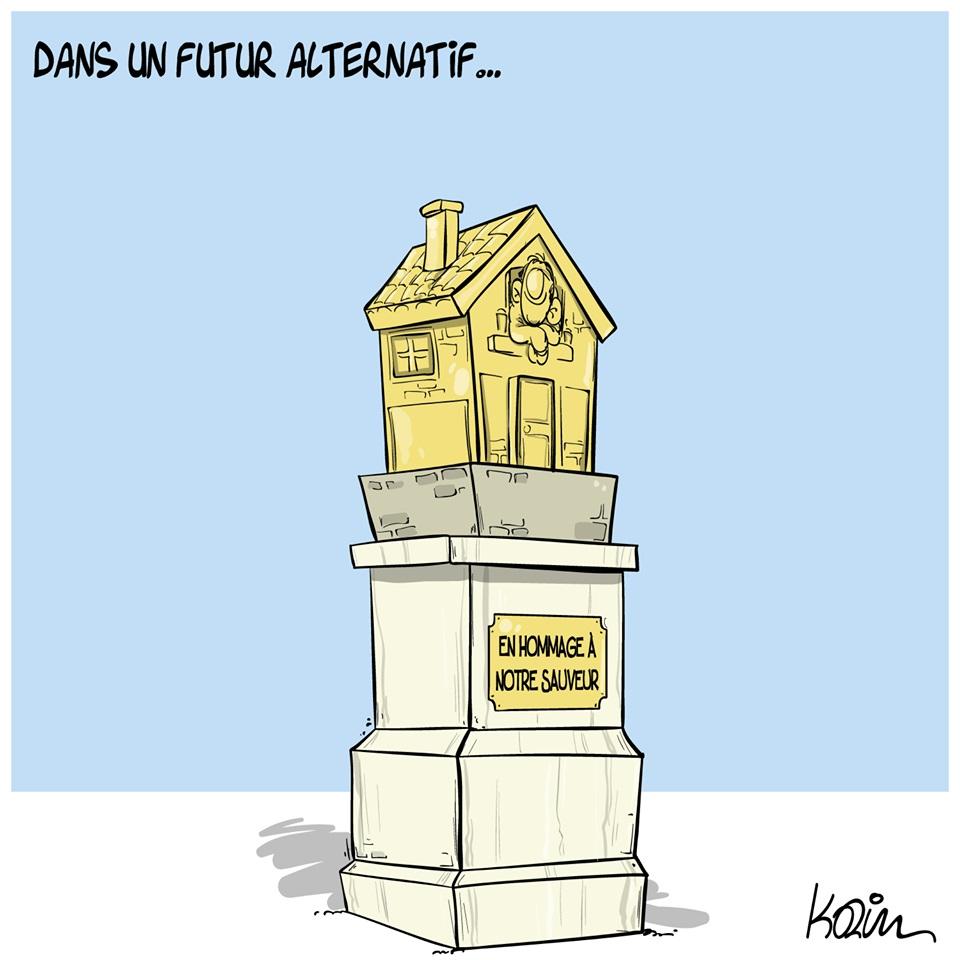 dessin d'actualité humoristique de Karim sur l'épidémie de Covid-19 et les bienfaits du confinement