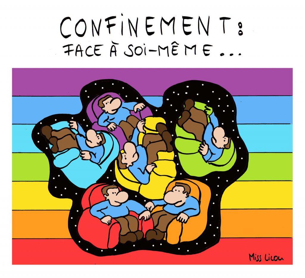 dessin de Miss Lilou sur l'épidémie de coronavirus et le confinement