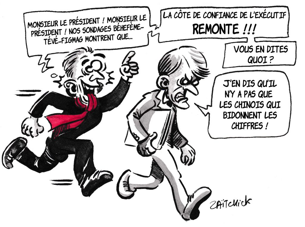 dessin de Zaïtchick sur l'épidémie de coronavirus et la côte de confiance de l'exécutif