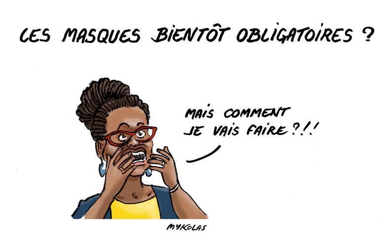 dessin d'actualité humoristique de Mykolas sur l'épidémie de covid-19, Sibeth Ndiaye et la prochaine obligation de porter un masque