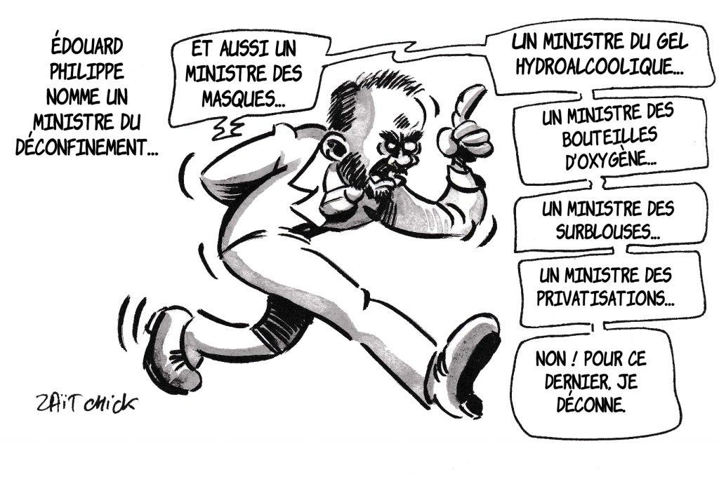 dessin de Zaïtchick sur l'épidémie de coronavirus et la nomination de Jean Castex comme ministre du déconfinement
