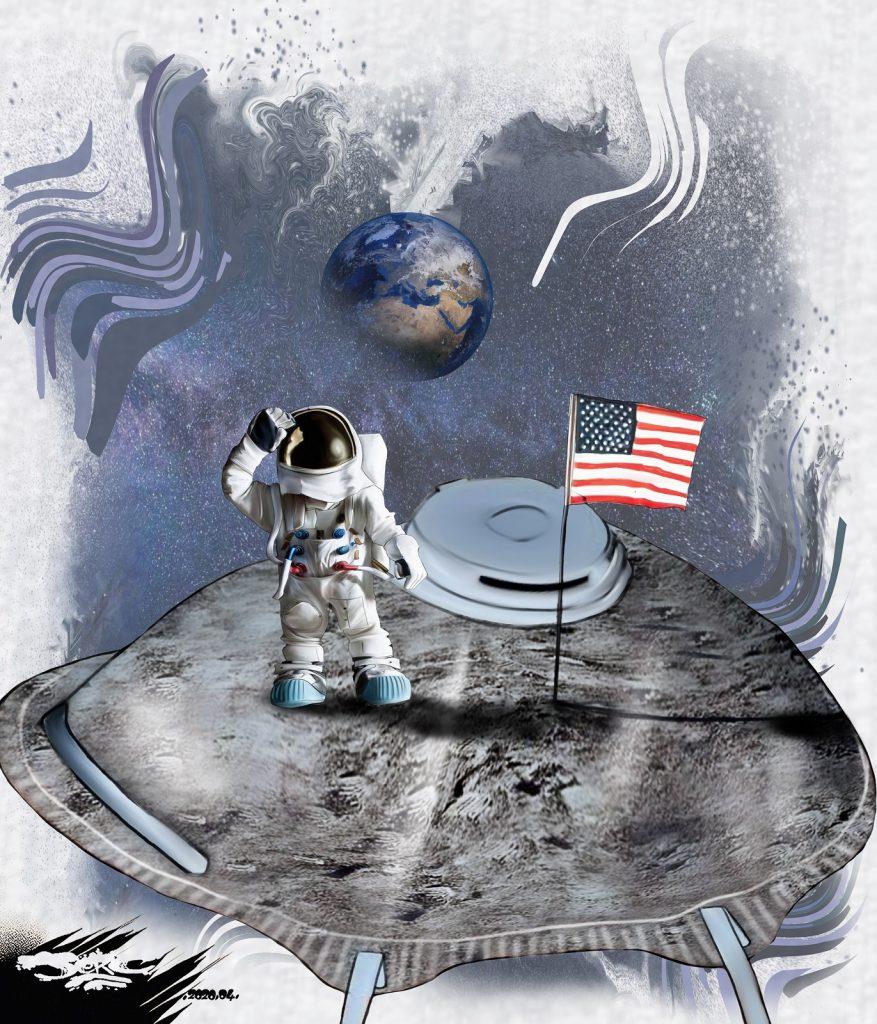 dessin d'actualité humoristique de Jerc sur l'épidémie de Covid-19, les masques de protection et le premier pas sur la Lune
