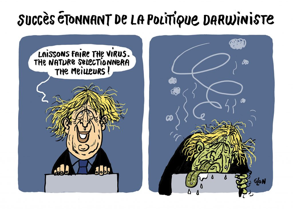 dessin humoristique de Glon sur l'épidémie de coronavirus et l'hospitalisation de Boris Johnson en soins intensifs