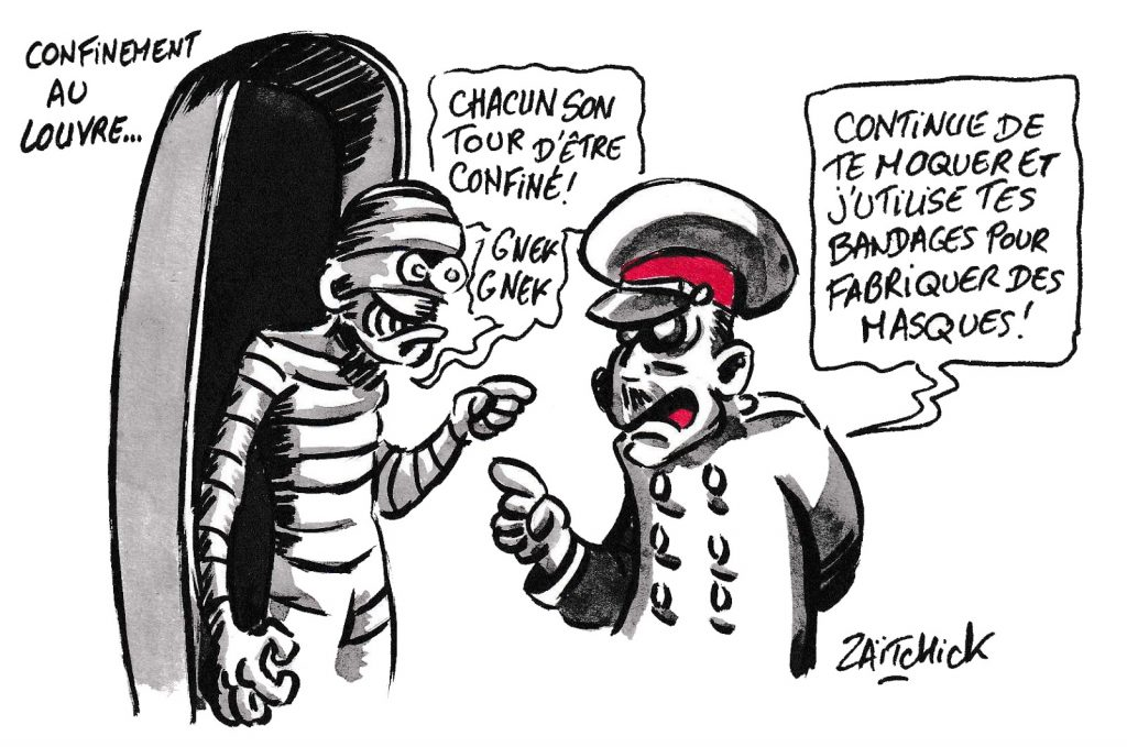 dessin de Zaïtchick sur l'épidémie de coronavirus et le confinent au musée du Louvre