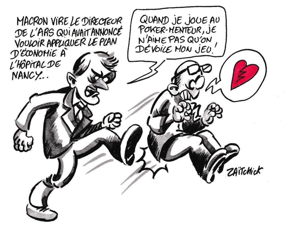 dessin de Zaïtchick sur l'épidémie de coronavirus et le limogeage du directeur de l'ARS Christophe Lannelongue