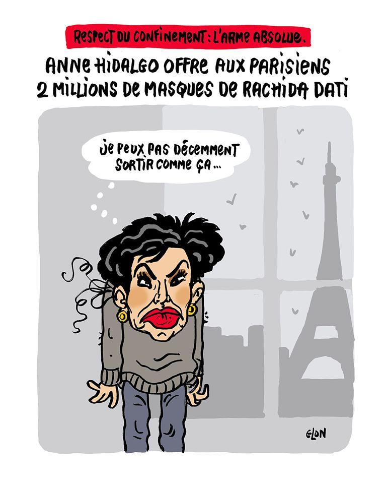 dessin humoristique de Glon sur l'épidémie de coronavirus et les masques offert aux parisiens par Anne Hidalgo