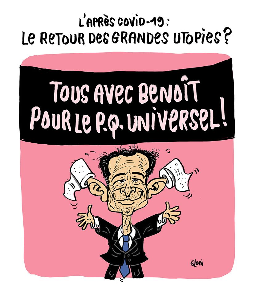 dessin humoristique de Glon sur l'épidémie de coronavirus, Benoît Hamon, le revenu universel et l'après covid-19