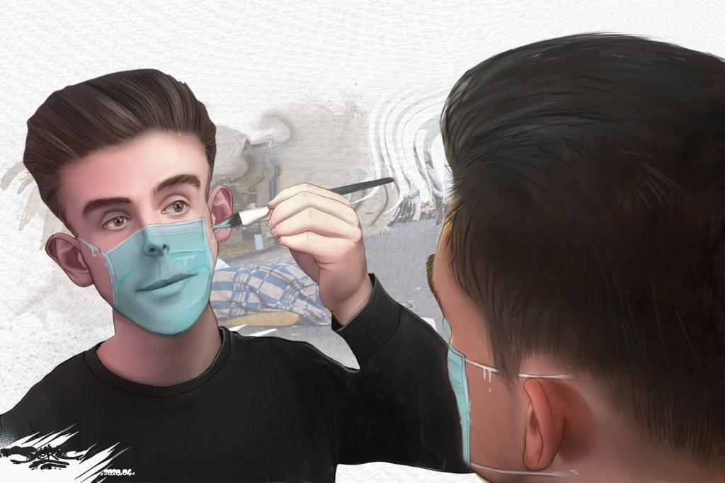 dessin d'actualité humoristique de Jerc sur l'épidémie de Covid-19 et la pénurie de masques de protection