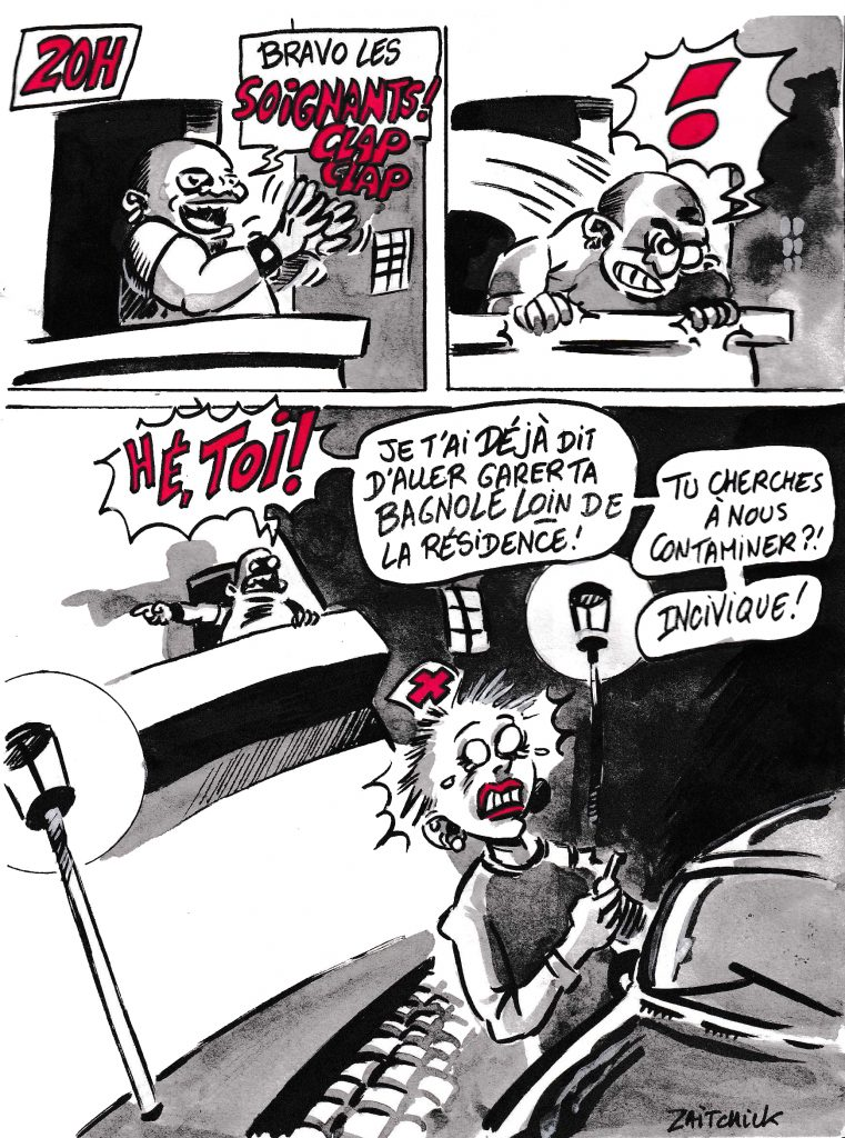 dessin de Zaïtchick sur l'épidémie de coronavirus et la solidarité aux soignants