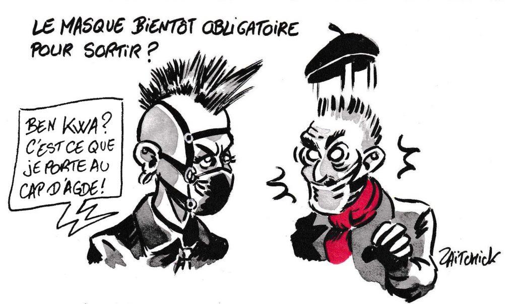dessin de Zaïtchick sur l'épidémie de coronavirus et le port du masque obligatoire