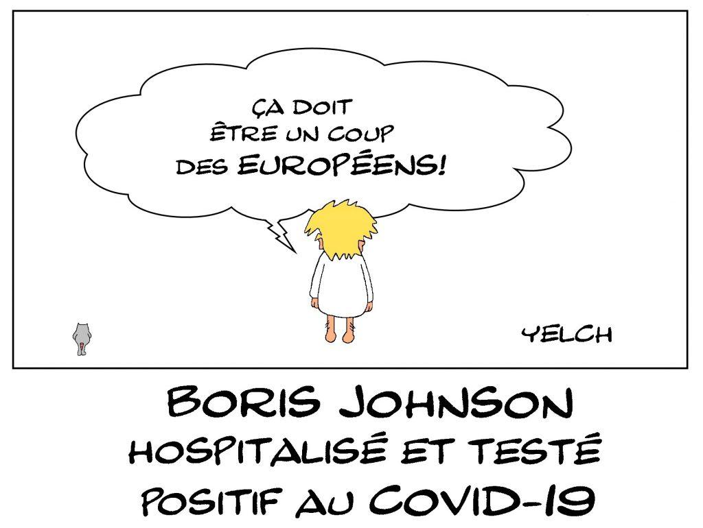 dessin de Yelch sur l'épidémie de Covid-19 et la maladie de Boris Johson