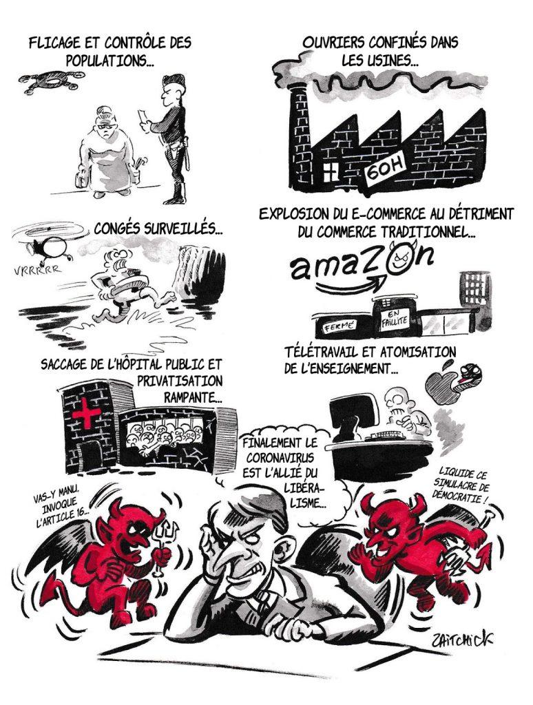 dessin de Zaïtchick sur l'épidémie de coronavirus et les démons d'Emmanuel Macron