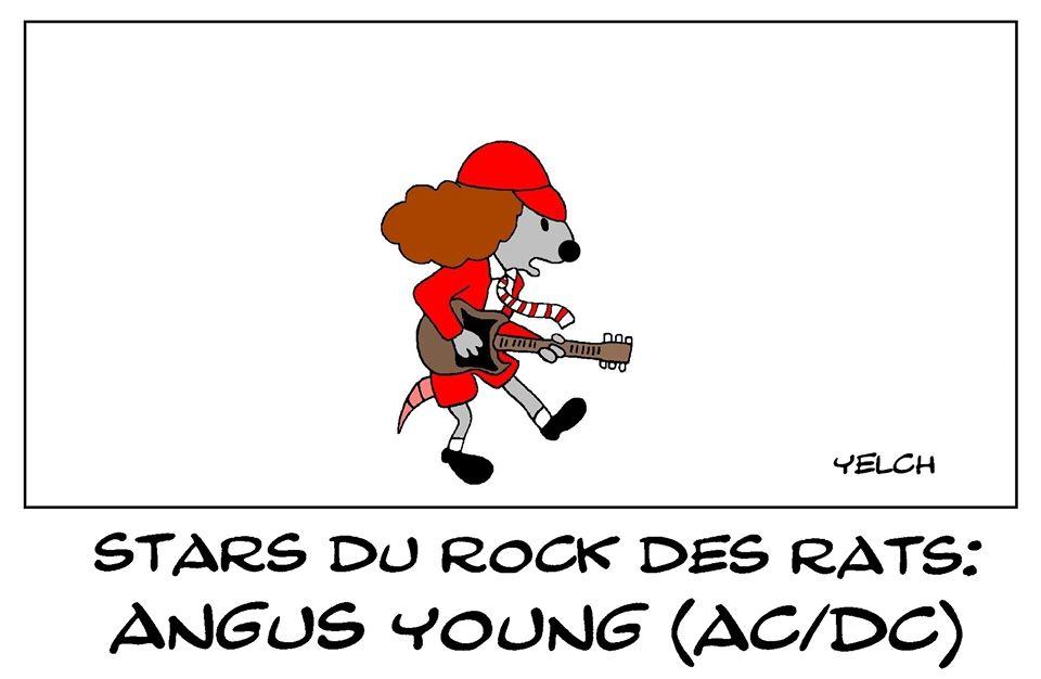 dessin de Yelch sur Angus Young