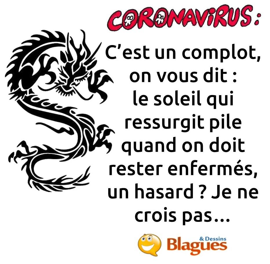 blague sur le coronavirus et le complotisme