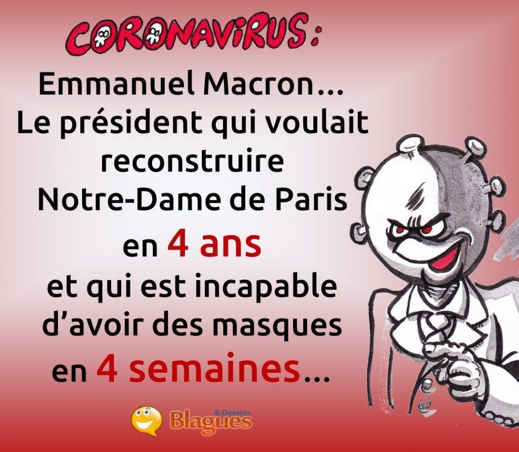 blague sur le coronavirus et Emmanuel Macron
