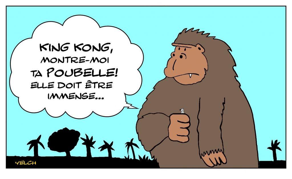 dessin de Yelch sur King Kong et sa poubelle
