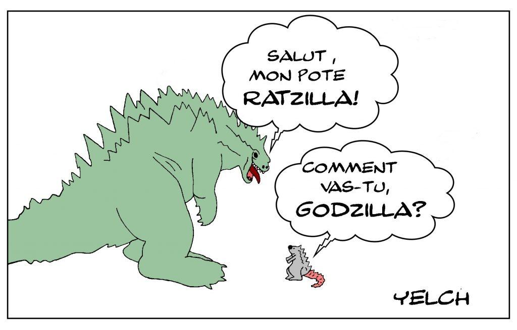 dessin de Yelch sur Godzilla et Ratzilla
