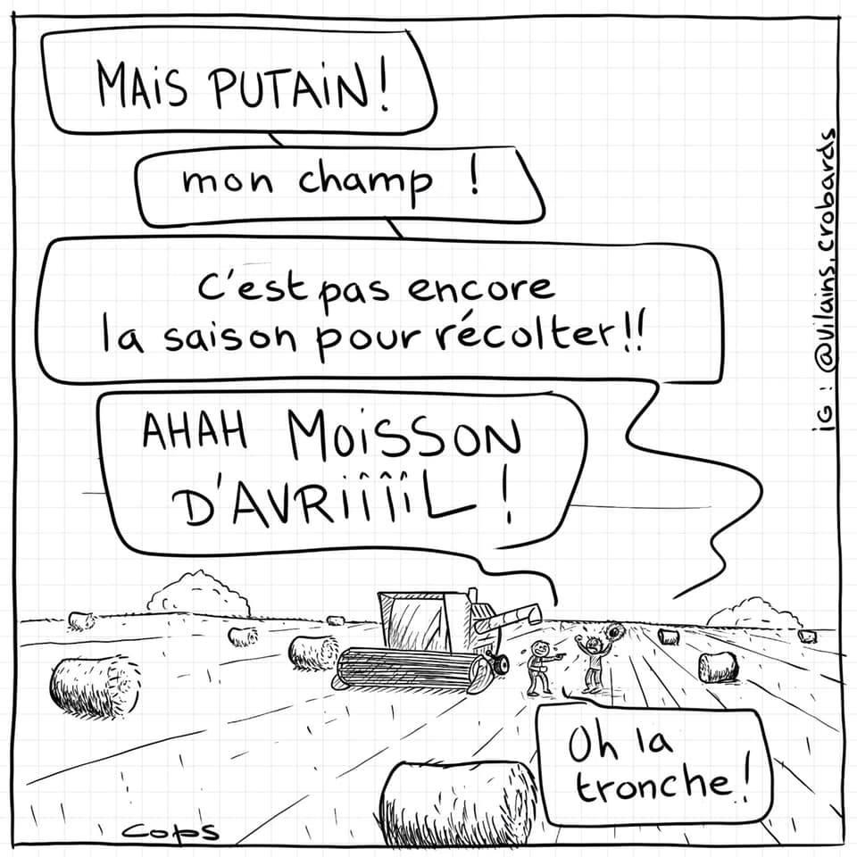 dessin de Cops sur le 1er avril dans la campagne entre agriculteurs