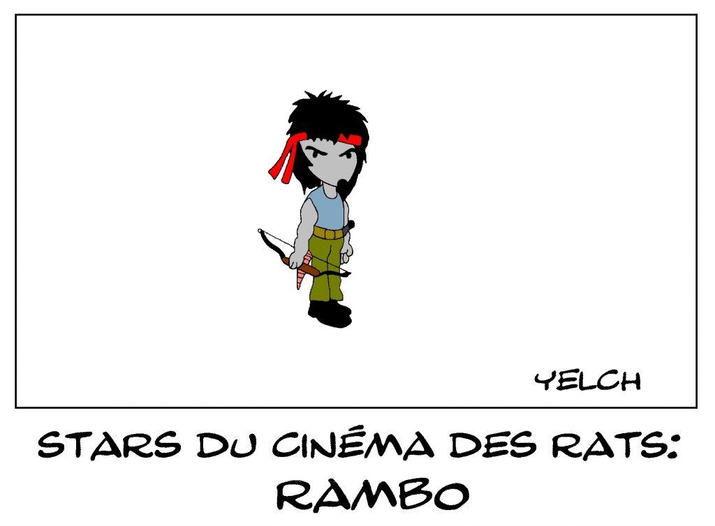 dessin de Yelch sur Rambo, star du cinéma