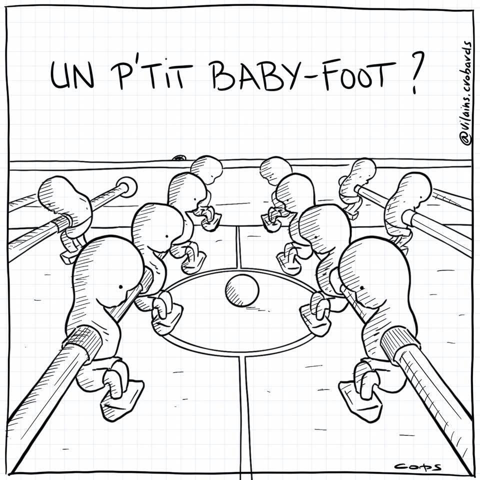 dessin de Cops sur le baby-foot