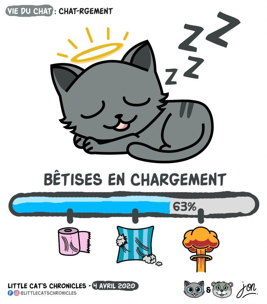 dessin humoristique des Little Cat's Chronicles sur le chargement des bêtises pendant le sommeil du petit chat