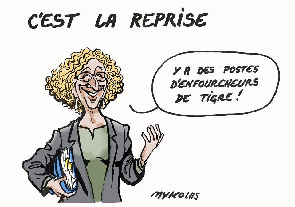 dessin d'actualité humoristique de Mykolas sur le déconfinement, Muriel Pénicaud et les annonces d'Emmanuel Macron pour la culture