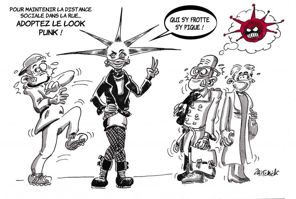 dessin de Zaïtchick sur le déconfinement et la difficile distanciation sociale