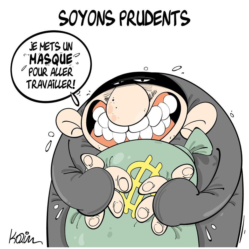 dessin d'actualité humoristique de Karim sur le coronavirus et les gestes barrières