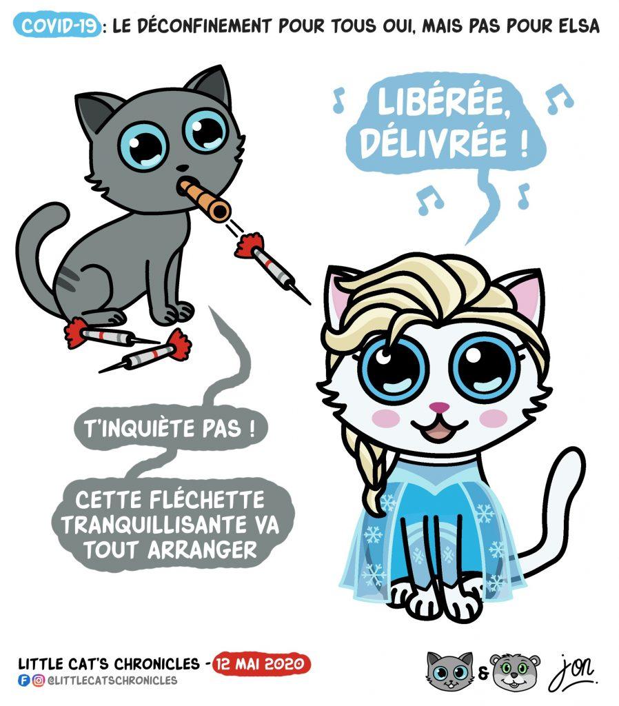dessin humoristique des Little Cat's Chronicles sur le déconfinement et la Reine des Neiges