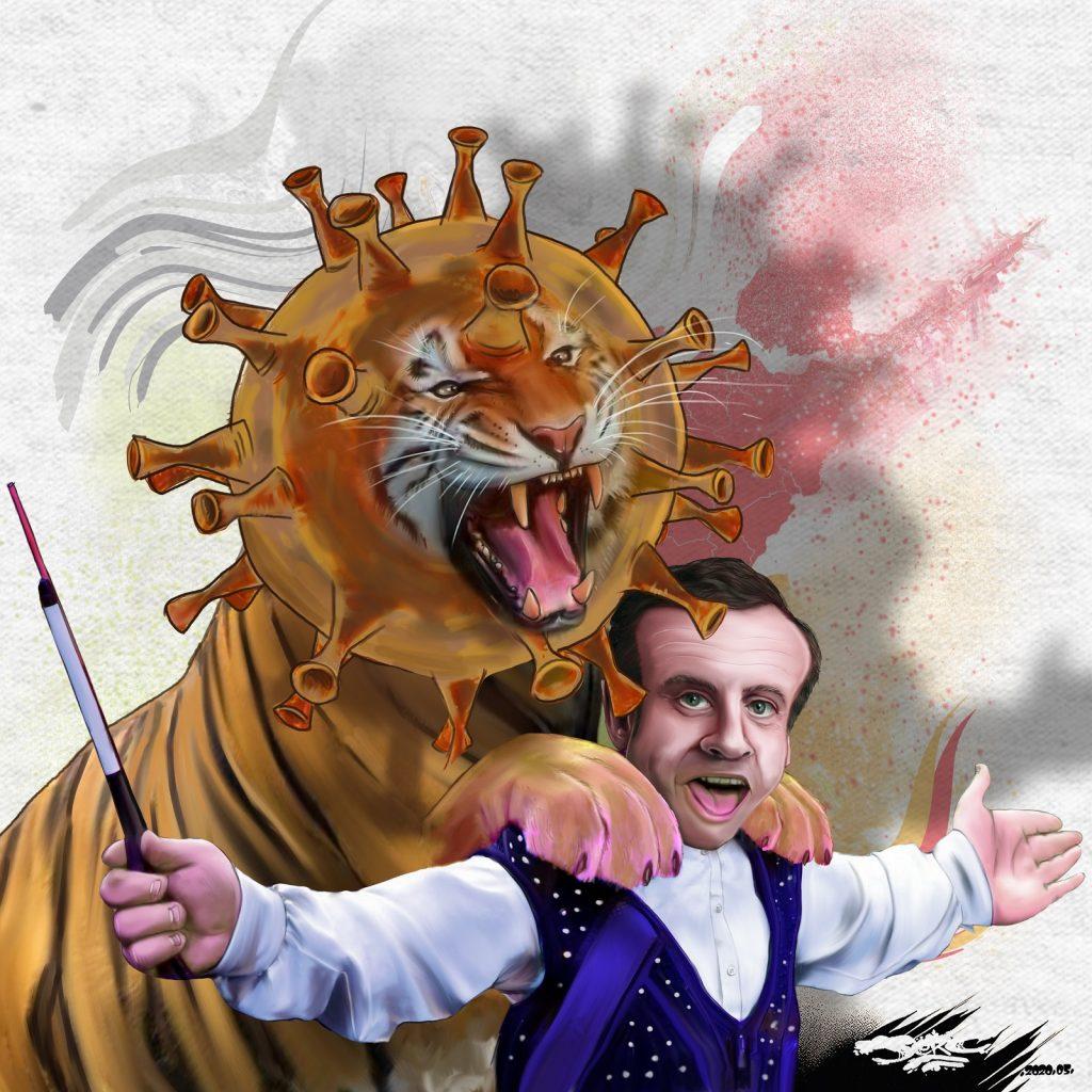 dessin d'actualité humoristique de Jerc sur le déconfinement et les annonces d'Emmanuel Macron pour la culture
