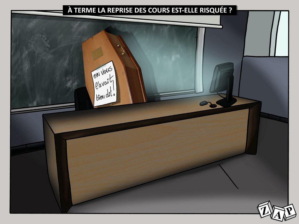 dessin d'actualité de Zap sur le déconfinement et la reprise des cours