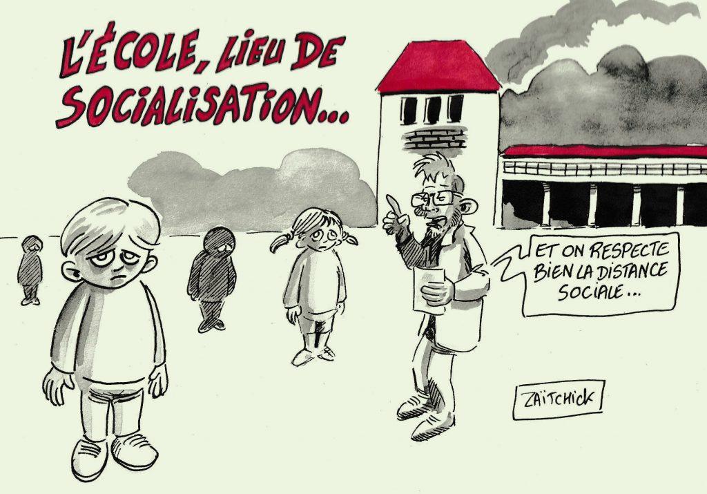 dessin de Zaïtchick sur le déconfinement et le respect de la distance sociale dans les écoles