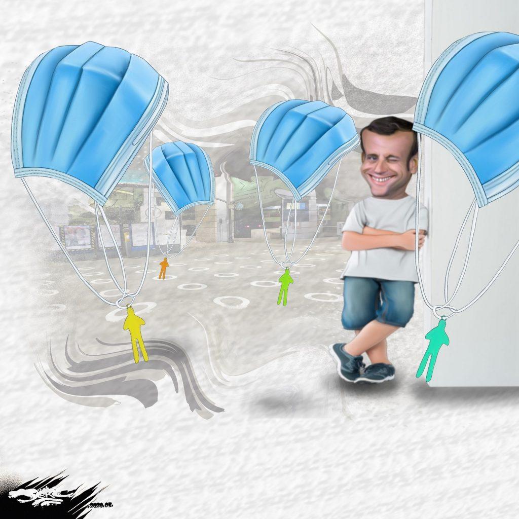 dessin d'actualité humoristique de Jerc sur les premiers de corvée, Emmanuel Macron et les masques de protection