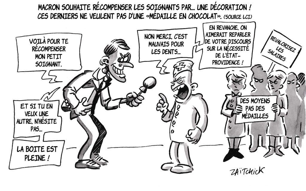dessin de Zaïtchick sur Emmanuel Macron et la reconnaissance envers les soignants
