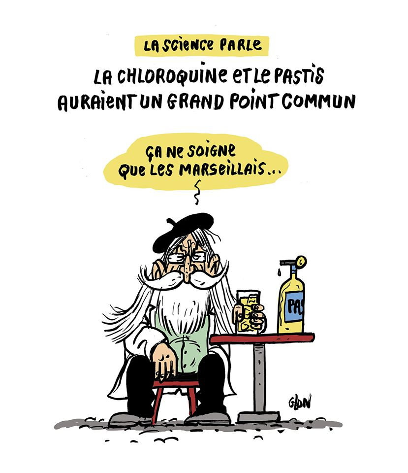 dessin humoristique de Glon sur l'épidémie de coronavirus et la chloroquine du professeur Raoult