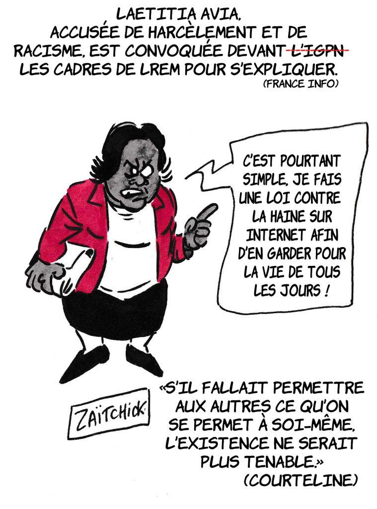 dessin de Zaïtchick sur la loi Avia et les accusation de harcèlement et de racisme envers Laetitia Avia