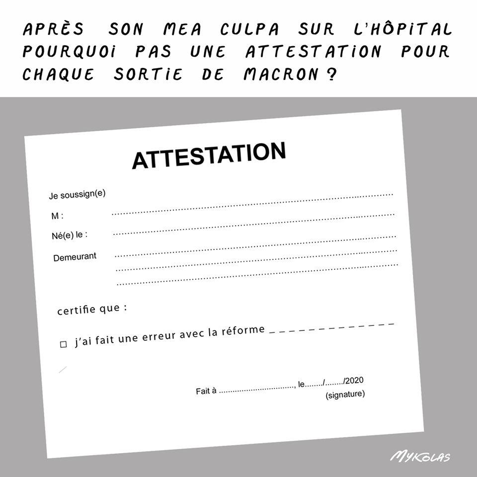 dessin d'actualité humoristique de Mykolas sur la crise sanitaire et le mea culpa d'Emmanuel Macron sur l'hôpital