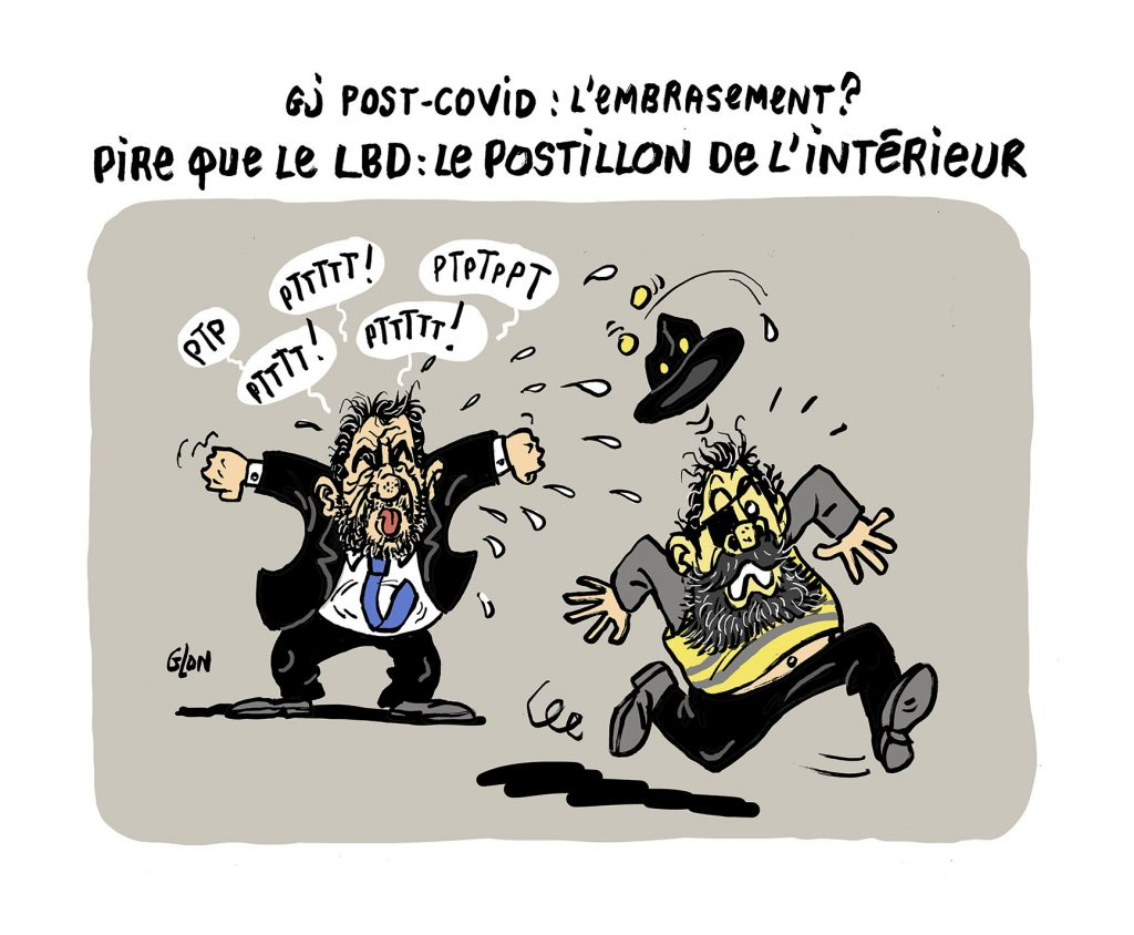 dessin humoristique de Glon sur le déconfinement et la manifestation des gilets jaunes réprimée violemment
