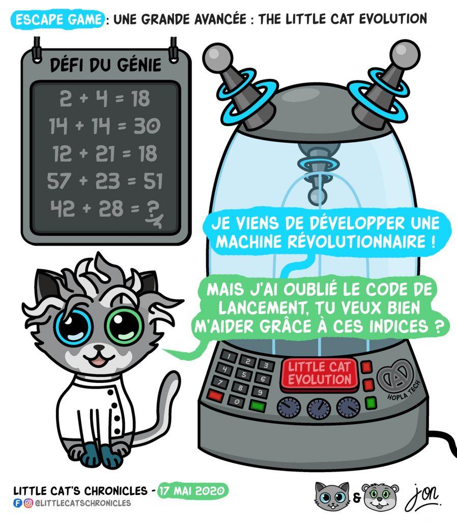 dessin humoristique des Little Cat's Chronicles sur le jeu du code de lancement de la machine révolutionnaire