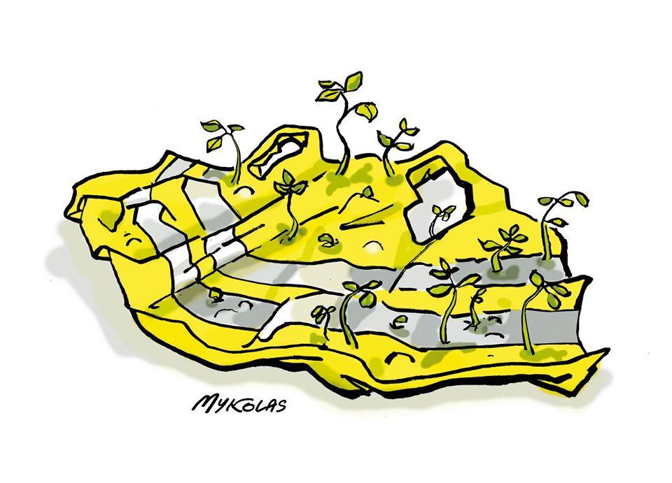 dessin d'actualité humoristique de Mykolas sur la crise sanitaire et le mouvement des gilets jaunes